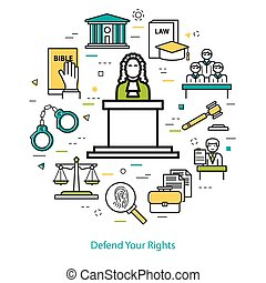Defend Your Rights - round concept - Vector round web banner...