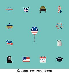 Flat Icons Decoration, Memorial Day, Awareness And Other Vector Elements. Set Of History Flat Icons Symbols Also Includes Military, Sparklers, Flag Objects.