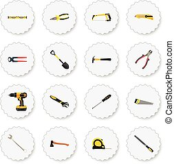 Realistic Wrench, Length Roulette, Electric Screwdriver And Other Vector Elements. Set Of Instruments Realistic Symbols Also Includes Key, Pliers, Pincers Objects.