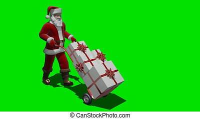 Santa carries the box gift - Render of Santa carries the...