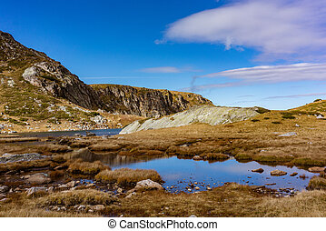 One of the seven lakes in the Rila mountains, wide shot