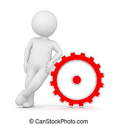 3D Rendering of a man leaning on a cogwheel