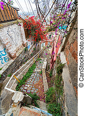 Treacherous Staircase in Valparaiso - Vertical view of a...