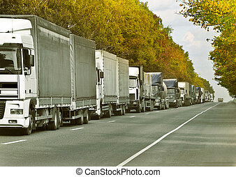 queue. - trucks caravan