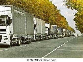 queue. - trucks caravan