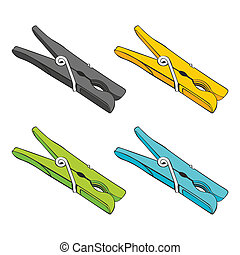 isolated colored pegs - fully editable vector illustration...