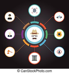Flat Icons Thief, Suspicious, Lawyer And Other Vector Elements. Set Of Criminal Flat Icons Symbols Also Includes Hammer, Prison, Judge Objects.