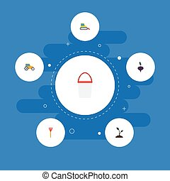Flat Icons Sprout, Pail, Cultivator And Other Vector...