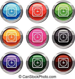 Watch set 9 collection - Watch set icon isolated on white. 9...