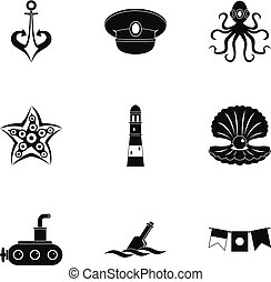Naval icons set, simple style