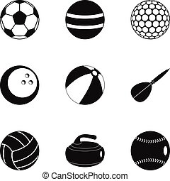 Ball icons set, simple style
