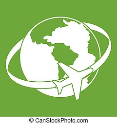 Travelling around the world icon green