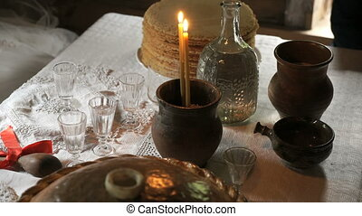 Burning candles inserted into the clay pot - Wedding...