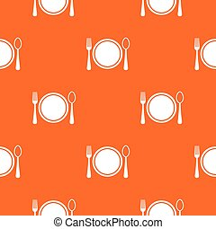 Place setting with plate,spoon and fork pattern seamless -...