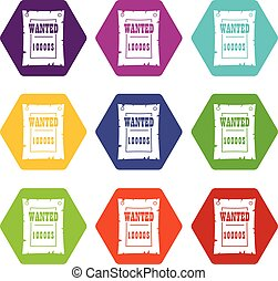 Vintage wanted poster icon set color hexahedron - Vintage...