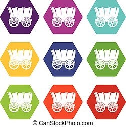 Ancient western covered wagon icon set color hexahedron