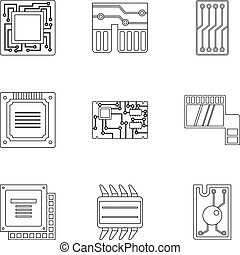 Transistor icons set, outline style - Transistor icons set....