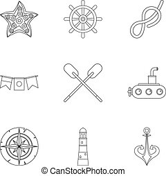 Naval icons set, outline style