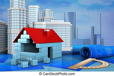 3d illustration of house blocks construction with urban...