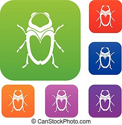 Scarab beetle set collection - Scarab beetle set icon in...