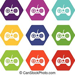 Video game console controller icon set color hexahedron