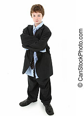 Boy in Baggy Suit - Adorable 10 year old american boy in...