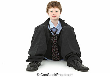 Boy in Baggy Suit - Handsome ten year old american boy in...