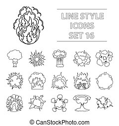 Explosions set icons in outline style. Big collection of explosions vector symbol stock illustration