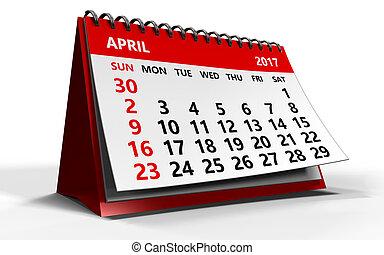 april 2017 calendar - 3d illustration of april 2017 calendar...