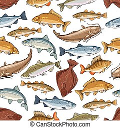 Vector fish pattern of seamless sea ocean fishes - Fish...