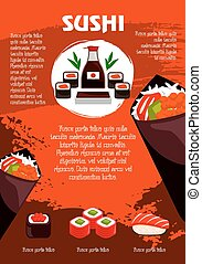 Vector poster for Japanese sushi restaurant - Sushi poster...