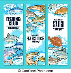 Vector banners set of fish catch for fishing club - Fishing...