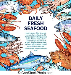 Vector poster for seafood or fish food market - Seafood and...