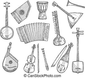 Vector sketch icons of musical instruments - Musical...