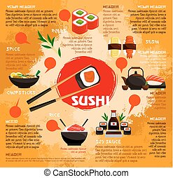 Vector poster for sushi or seafood restaurant - Sushi bar...