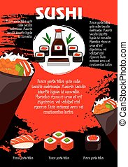 Vector poster Japanese restaurant or sushi menu - S u s h i...