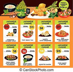 Vector menu for Japanese cuisine restaurant - Japanese...