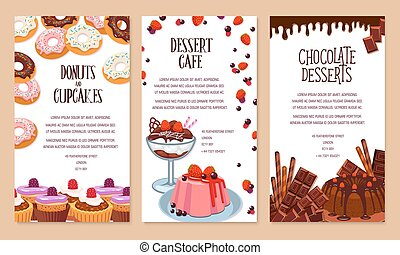 Vector poster template for bakery shop desserts - Bakery...