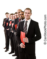 Business men with documents - Business men with red...