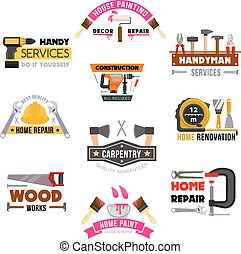 Vector icons set carpentry construction work tools - Handy...