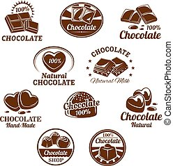 Vector icons set for chocolate desserts - Chocolate desserts...