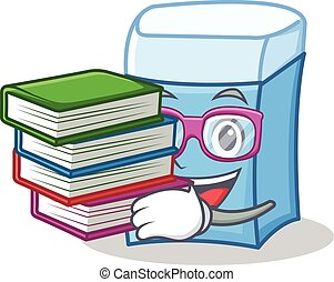 Student with book eraser character mascot style