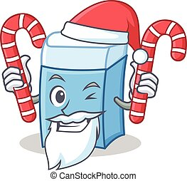 Santa with candy eraser character mascot style