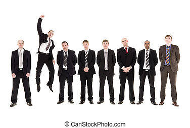 Jumping man in a row with other men isolated on white...