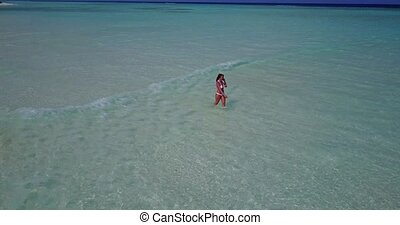 v06296 Aerial flying drone view of Maldives white sandy...