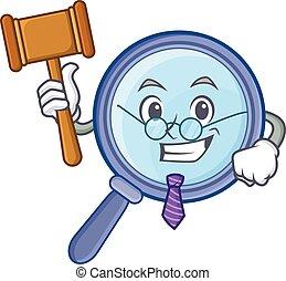 Judge magnifying glass character cartoon