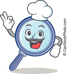 Chef magnifying glass character cartoon
