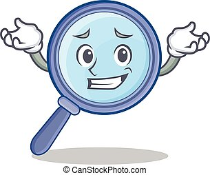Grinning magnifying glass character cartoon