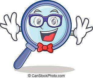 Geek magnifying glass character cartoon