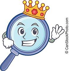 King magnifying glass character cartoon
